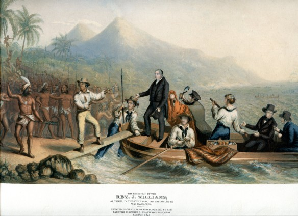 The Reception of the Rev. J. Williams, at Tanna, in the South Seas, the Day before he was Massacred