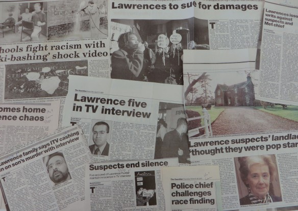Montage of newspaper clippings