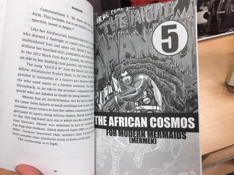 an inside page at the beginning of chapter 5, showing a black and white illustration of a futuristic action figure